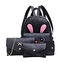 4Pcs Mochila bolso cruzados de la impresión de Crossbody conejo de mujeres y sostenedor de tarjeta por ESAILQ