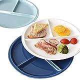 Banfang geteiltes Teller-Set, Spülmaschinenfest und mikrowellengeeignet, Keramik-Speiseteller zur gesunden Portionskontrolle, 25 cm, 3 Stück blau und weiß, zum täglichen Gebrauch von Erwachsenen und Teenagern 3* round
