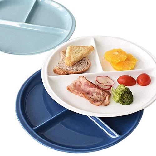 Juego de platos divididos – aptos para lavavajillas y microondas – saludable porción control cerámica plato – 25 cm (10 pulgadas) Pack de 3 azul y blanco – mejor para adultos y adolescentes uso diario por BANFANG 3* round