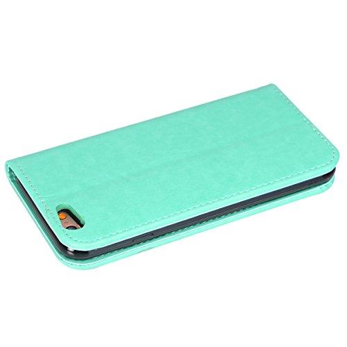 Ekakashop Custodia iphone 6 , Cover iphone 6S, Elegante borsa Custodia in Pelle Protettiva Flip Portafoglio libro Case Cover per Apple iphone 6 6S 4.7 pollice / con Carte Slot / Chiusura Magnetica / f Menta verde