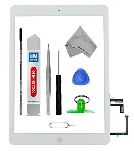 MMOBIEL Digitalizador Pantalla táctil frontal para IPAD Air (Blanco) Incluye botón de inicio y cable flex soporte cámara adhesivos pre instalados kit profesional de herramientas para una fácil instalación.