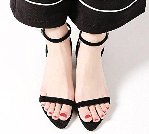 Dick mit weiblichen Sandalen mit dem Fischkopf Frauen Sandalen Sommer offene Schuhe Black
