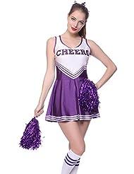Sexy Cheerleader Kostuem Uniform Cheerleading Cheer Leader mit Pompom Minirock GOGO Damen Maedchen Karneval Fasching