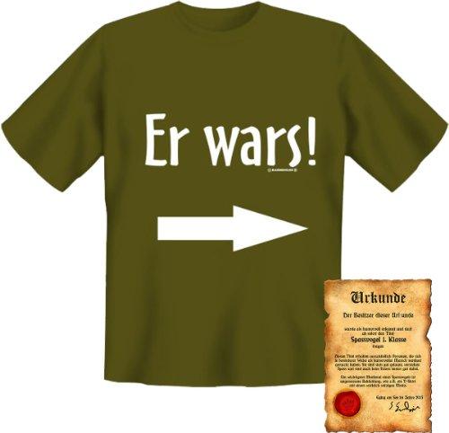 witziges Funshirt + gratis Spaß Urkunde - Motiv Er wars! orignielles Sprüche Fun T-Shirt Shirt Khaki