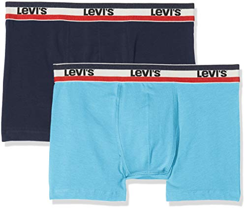 Levi's Herren Levis 200SF SPRTSWR Logo Color Boxer Brief 2P Boxershorts, Blau (Blue 056), Small (Herstellergröße: S) (2er Pack) -