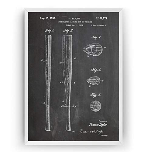 Baseballschläger 1939 Patent Poster - Baseball Bat Jahrgang Drucke Drucken Bild Kunst Geschenke Zum Männer Frau Entwurf Dekor Vintage Art Blueprint - Rahmen Nicht Enthalten -