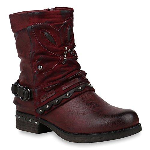 Damen Schuhe Stiefeletten Biker Boots Leicht Gefütterte Stiefel Metallic 153022 Dunkelrot Nieten Autol 36 Flandell