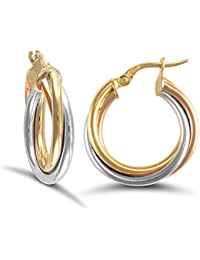 Women's Ear-rings Trianon 9ct Tricolor Gold - EI937044Tgv zmvCm