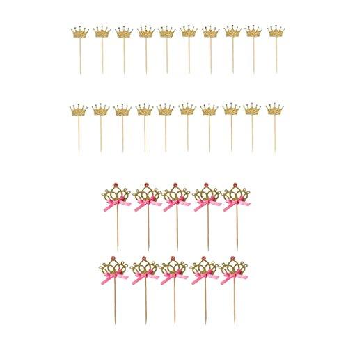 PETSOLA 10pcs / Set Ziemlich Krone Kuchendeckel Essen Picks Mit Band Pink Und Gold+20 Glitter Papier Kronen Form Kuchen Deckel Auswahl Hochzeitsfestbevorzugun