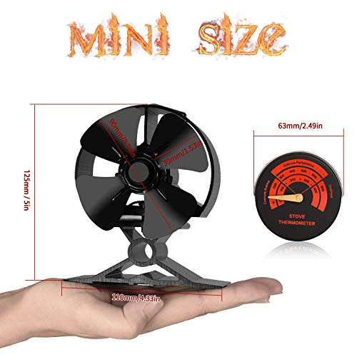 Wood Stove Fan-Small Size,4 Blades Silent Operation with Stove Thermometer for Wood/Log Burner/Fireplace,Eco Friendly and Efficient Heat Distribution