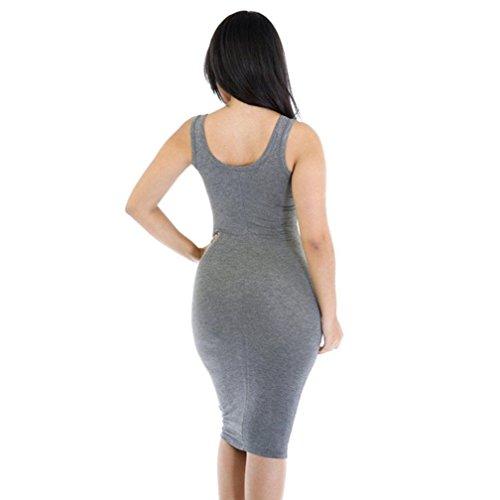 Femmes Robe sans manches,Tonwalk Été Décontractée Bandage Bodycon Robe Gris