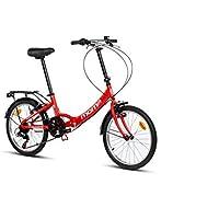 """Moma Bikes II Red, Bicicletta di Città Pieghevole, First Class 20"""", Alluminio Shimano 6v, Sella Confort. Unisex – Adulto, Rosso, Unic Size"""