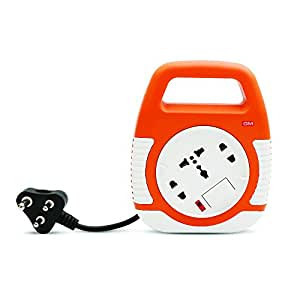 GM Modular 3045-Square 3 Pin Flex Box 4 Meter (with Handle, Indicator & International Socket),Orange and White