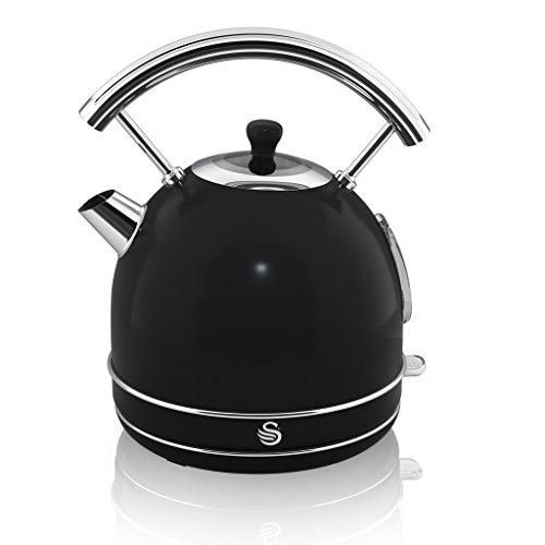 NEW Swan Kitchen Appliance Retro Set – BLACK 1.7 Litre Dome Kettle & BLACK Retro Stylish 4 Slice Toaster Set