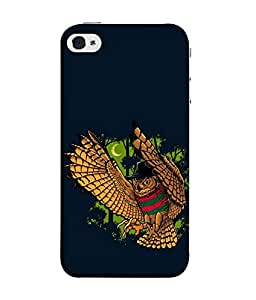 FUSON Designer Back Case Cover for Apple iPhone SE (Black Background Butterfly Gold Fish Funny Owl )