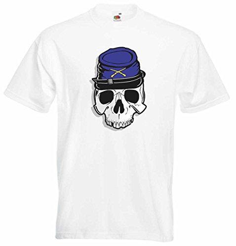 T-Shirt D819 T-Shirt Herren schwarz mit farbigem Brustaufdruck - Design Tribal Comic / abstrakte Grafik / Schädel Totenkopf Soldat USA Bürgerkrieg Mehrfarbig