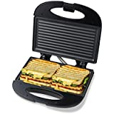 Pheebs Non-Stick Grill Sandwich Maker with Cool Touch Handle and Lid Lock - (Silver and Black, 750 Watt)