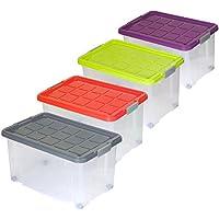 4X Eurobox mit Deckel 60x40x30cm Aufbewahrung Kiste Box Stapelbox
