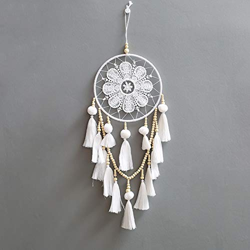 Wall Art Dream Catcher Home Decor, White Fumigation Feathers Indian Bohemian Style Handmade Crochet Dream Catcher Decorative Wall Teen Girl Bedroom Living Room (Decor Dream Catcher Home)