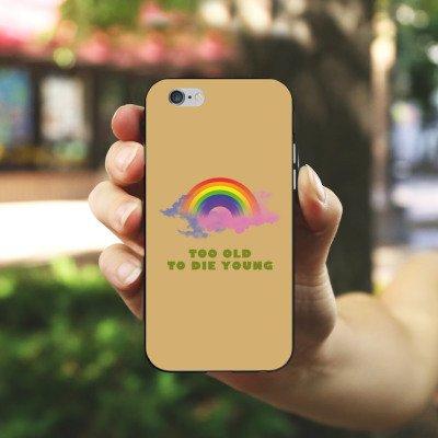 Apple iPhone X Silikon Hülle Case Schutzhülle Regenbogen Rainbow Leben Silikon Case schwarz / weiß