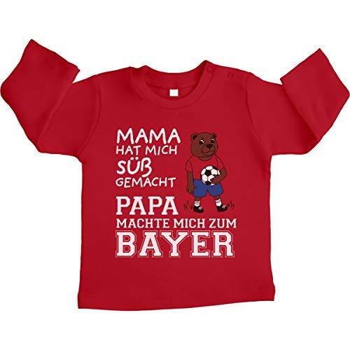 Shirtgeil Fußball Fanartikel Papa machte Mich zum Bayer Unisex Baby Langarmshirt 3-6 Monate / 66 Rot