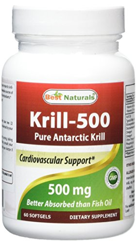 #1 Krill Oil 500mg Softgels – 100% Pure Cold Pressed Antarctic Krill Oil – Highest Level...