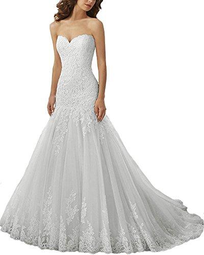 Brautkleider Hochzeitskleider Lang Damen Tüll Kleid für Braut Spitze A-Linie Brautmode Silber...