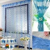Homefab India Heart String Modern 2 Piece  Polyester Door Curtain Set - 7ft, Blue