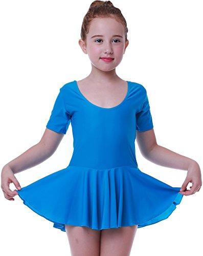 Seawhisper Ballettanzug Mädchen Ballett Tütü Kinder Ballettkleid, Kurze ärmel blau, 6/7 Jahre (122-128)