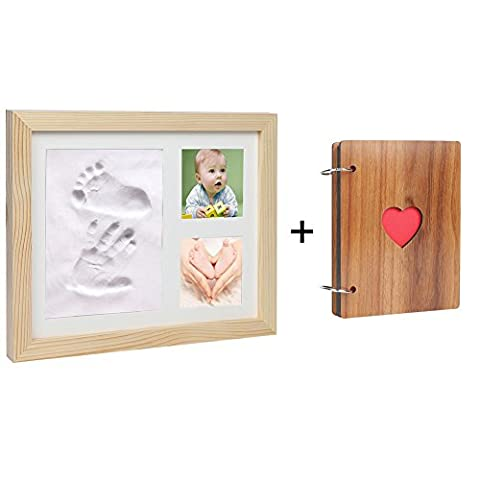 Cinoton BABY HAND & FOOTPRINT PICTURE FRAME KIT with Photo Album,Perfect Wooden Keepsakes Decorations for Room Wall or Table Decor,Amazing Baby Shower Gift (Natural wood)