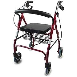 Rollator 4 roues pliable | Déambulateur adulte | Déambulateur rollator pliant en aluminium réglable en hauteur avec siège à dossier | Modèle Alhambra | Mobiclinic