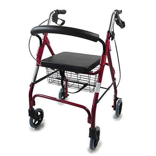 Leichtgewichtrollator | Gehrahmen mit 4-Rad faltbar | Verstellbare Gehhilfe | Gehwagen mit Korb und gepolstertem Sitz | Bordeaux | Alhambra | Mobiclinic