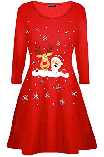 (Oops Outlet Damen Schneeflocken Rentier Santa Kostüm Weihnachten Swing Minikleid - winkender Santa Rentier rot, M/L (UK 12/14))
