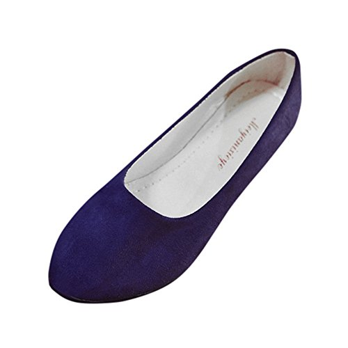 Yvelands Damen Slip On Flache Schuhe Sandalen Casual Ballerina Schuhe Größe(Dunkelblau,35 EU)