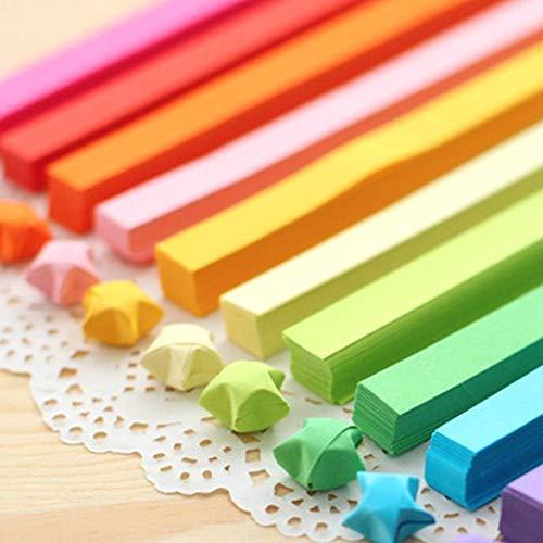 GOOTRADES 1900 Blätter Regenbogenfarbe Doppelseitigen Origamipapier 24,5 cm /9,6 Zoll Long Lucky Star Papierstreifen für Handwerk DIY