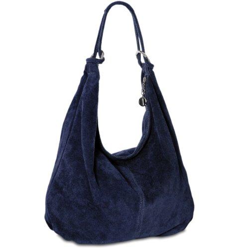 CASPAR TL617 Damen Vintage Veloursleder Tasche/Handtasche / Hobo Bag/Shopper, Farbe:dunkelblau -
