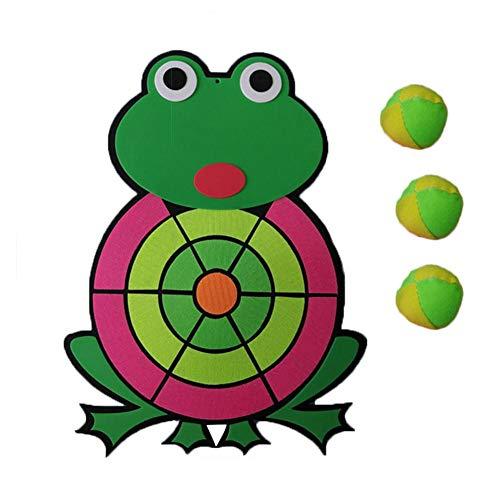 Ausomely Wurfspiel Kinder Klett Kinder Dartscheibe Frosch Dartscheibe Kinder Dart Spiel Klett Scheibe mit Zubehör 1 Stoff Dartboard & 3 Bälle Soft Darts