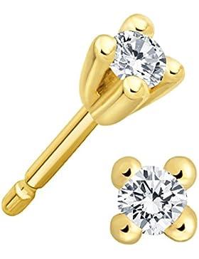 Juwelier Gelber Diamant Ohrstecker Lupenrein 0,15 ct 585 14 Kt Filigrane 4er Krappen Fassung Brillant Schliff...