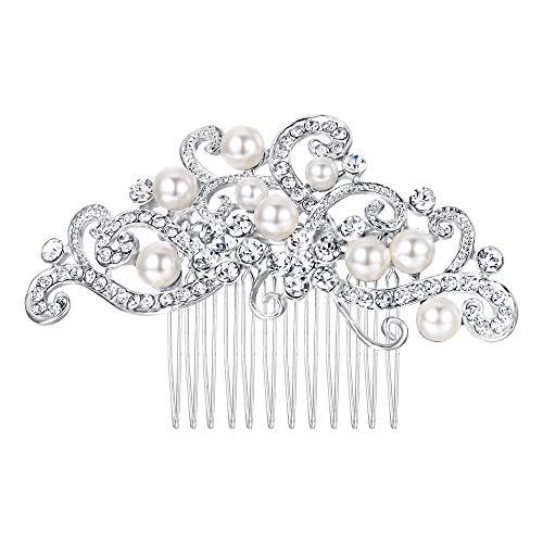 Flyonce Österreichische Kristall Cream Simulierte Perle Floral Rebe Braut Haar Kamm Klar Silber-Ton