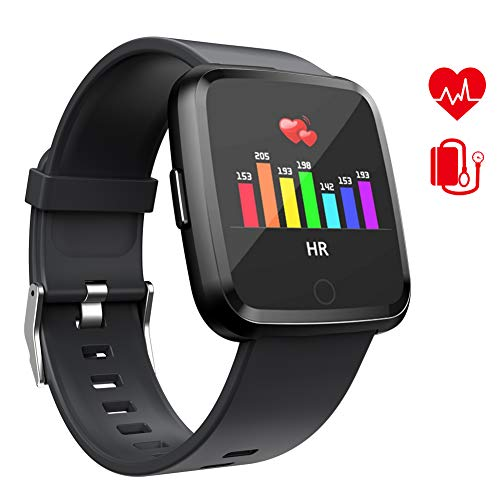Yoolaite Fitness Armband Uhr Wasserdicht Fitness Trackers mit Pulsmesser Farbbildschirm Smart Watch Aktivitätstracker Pulsuhren Schrittzaehler Stoppuhr Fitness Uhr für Damen Herren Kinder (black01)