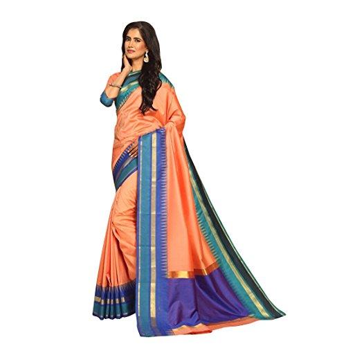 Craftsvilla Womens Zari Border Temple Gadwal Bangalore Silk Woven Peach Traditional Saree