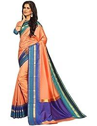 Craftsvilla Womens Bangalore Silk Woven Zari Border Saree Traditional Peach Color With Blouse Piece