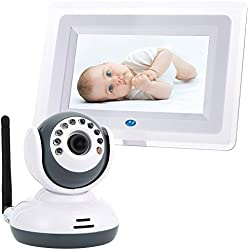 Vigilabebes, WER 2.4G, 7.0 pulgadas HD pantalla Baby Monitor Inalámbrico, Visión Nocturna Vídeo Audio Seguridad para Bebé