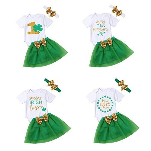 . Patrick's Day Kleidung Set Kurzarm Bedruckte weiße Strampler Tops + Plissee grünen Rock + Bowknot Outfit Set 3 Stück (6-12 Monate, weiße Oberteile und grüner Rock 3) ()