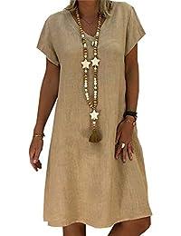 d5d7e86cd Mujer Vestido Falda Cuello en V Manga Corta Vestido de Camiseta Fiesta  Suelto Casual Túnica Vestido