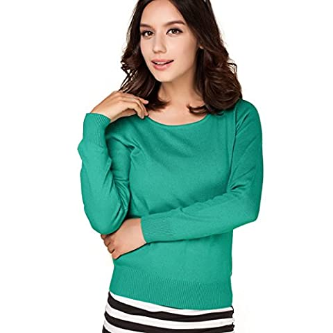 Panreddy Women's Cashmere Wool Blended Long Sleeve Crew Neck Sweater Green L