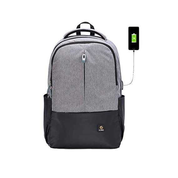 Voila GOBIG USB City Anti-Theft Backpack (Grey & Black)