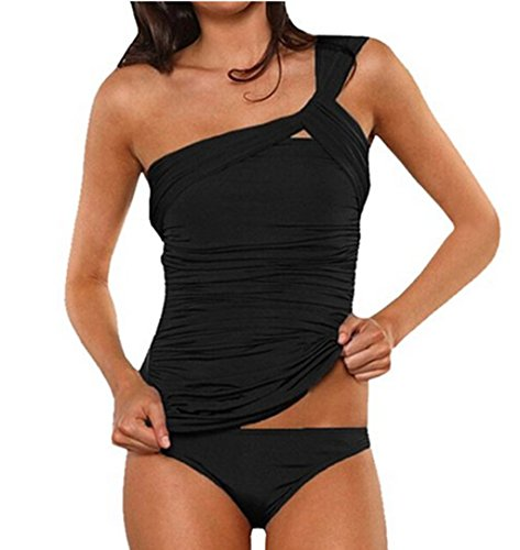 ASSKDAN Damen Drucken Neckholder Tankini Badeanzug Hot Frauen Streifen Rückenfrei Monokini Raffinerten Bademode (M, Schwarz) (Neckholder-tankini-bademode)