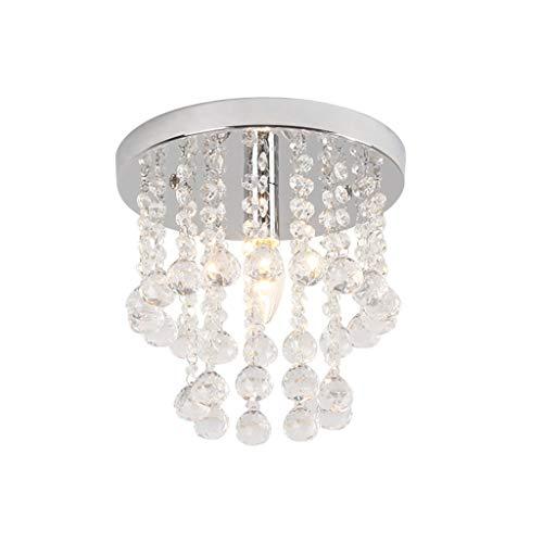 Runde Semi Flush (CZZ Runde Semi-Flush-Deckenleuchte, K9 Kristall-Regentropfen-Leuchter-Beleuchtung-Unterputz-LED-Deckenleuchte-Pendelleuchte für Esszimmer (größe : 25cm))