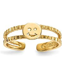 Black Bow Jewellery Company : 14k Yellow Gold 5mm Smiley Face Toe Ring